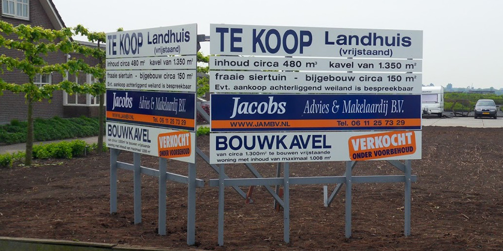 reclamebord, bouwbord